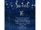 Starry Night Party Invitations Sweet 16 Starry Night Silver Blue Invitation Zazzle