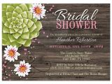 Succulent themed Bridal Shower Invitations Bridal Shower Invitations Rustic Succulent Floral Wood Pink