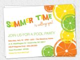 Summer Party Invitation Template Citrus Invitation Summer Pool Party Lemon Lime orange