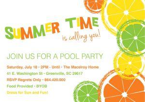 Summer Party Invitation Wording Custom Summer Lemon Pool Birthday Party Invitation