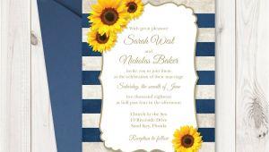 Sunflower Wedding Invitation Template Sunflower Wedding Invitation Printable Template with Navy Blue