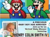Super Mario Baby Shower Invitations Super Mario Bros themed Baby Shower Invites