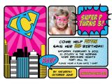 Supergirl Birthday Party Invitations Vintage Super Girl Printable Photo Invitation