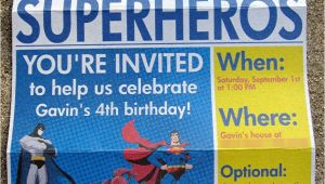 Superhero Newspaper Birthday Invitations Superhero Newspaper Birthday Invitation the Scrap Shoppe