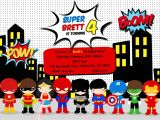 Superhero Party Invitation Template Greygrey Designs My Parties Brett 39 S Superhero 4th