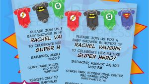 Superhero themed Baby Shower Invitations Esie Super Hero Justice League Baby Shower by Sugartreepress