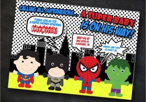 Superhero themed Baby Shower Invitations Superhero Baby Shower Invitation Marvel by