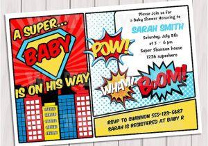 Superhero themed Baby Shower Invitations Superhero Baby Shower Invitation Printable Invite Card