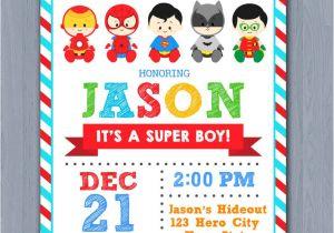 Superhero themed Baby Shower Invitations Superhero Baby Shower Invitation Super Hero Baby Shower