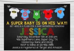 Superhero themed Baby Shower Invitations Superhero Baby Shower Invitation Superhero by