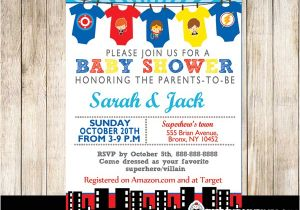 Superhero themed Baby Shower Invitations Superhero Baby Shower Invitations