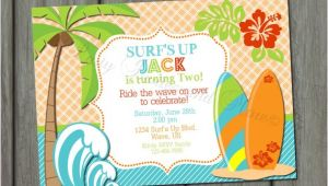 Surf Birthday Party Invitations Items Similar to Surfer Surf 39 S Up Birthday Invitation