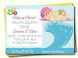Surfer Girl Baby Shower Invitations Little Surfer Girl Baby Shower Invitation Baby On Board