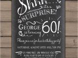 Surprise 60th Birthday Invitation Wording Ideas Surprise 60th Birthday Invitation Chalkboard Invitation