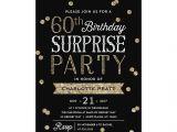 Surprise Birthday Brunch Invitations 60th Glitter Confetti Surprise Party Invitation