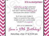 Surprise Birthday Party Invitation Wording Chevron Surprise Party Invitation