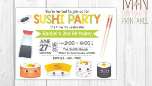 Sushi Party Invitation Sushi Invitation Sushi Invitation Printable Sushi Invitation