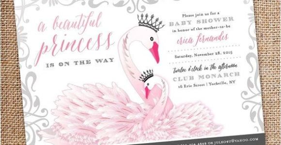 Swan Princess Baby Shower Invitations Baby Shower Invitation – Princess Swan theme Digital File