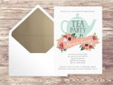 Tea Party Baby Shower Invites Printed Baby Shower Tea Party Invitation with Gold