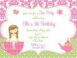 Tea Party Invitation Template 5th Birthday Invitation Wording Ideas Bagvania Free