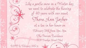 Tea Party Invitation Wording for Adults Winter Chic Tea Party Invitation Snowflakes soft Pink