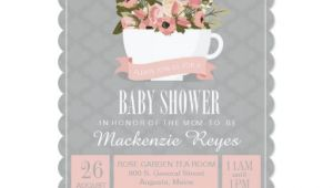 Teacup Baby Shower Invitations Floral Teacup Baby Shower Invitation Tea Party Card