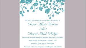 Teal Wedding Invitation Blank Template Wedding Invitation Template Download Printable Invitations