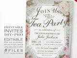 Team Party Invitation Template Birthday Tea Party Invitation Template Vintage Rose Tea