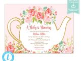 Team Party Invitation Template Tea Party Invitation Template Floral Teapot Bridal Shower