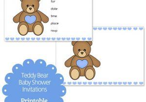 Teddy Bear Baby Shower Invitations Free Blue Printable Teddy Bear Baby Shower Invitations