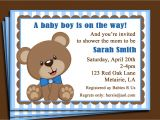Teddy Bear Baby Shower Invitations Free Blue Teddy Bear Invitation Printable or Printed with Free