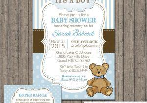 Teddy Bear Baby Shower Invitations Free Boy Teddy Bear Baby Shower Invitation with Free Diaper