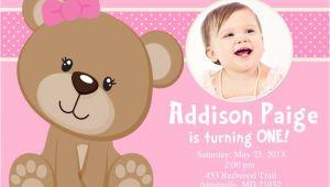 Teddy Bear First Birthday Invitations Pink Teddy Bear Birthday Party Invitation Digital File