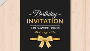 Template for Elegant Birthday Invitation Elegant Birthday Invitation with Golden Details Vector