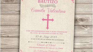 Templates for Baptism Invitations In Spanish Spanish Printable Baptism Christening Invitations Burlap