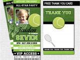 Tennis Birthday Party Invitations Tennis Ticket Invitations Birthday Party Thank You Card