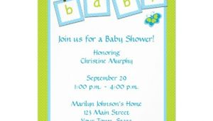 """Text for Baby Shower Invite Baby Text Clothesline Baby Shower Invitation 5"""" X 7"""