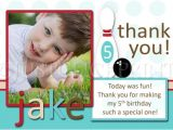Thank You for Birthday Party Invitation Blue Retro Bowling Fun Birthday Photo Invitation Thank You