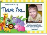 Thank You for Birthday Party Invitation Cu696b Jungle Party Birthday Invitation Thank You