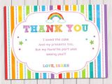 Thank You for Birthday Party Invitation Rainbow Thank You Card Rainbow Birthday Note Card