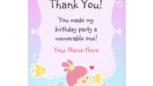 Thank You Letter for Invitation to Birthday Party Thank You Note Mermaid theme Birthday Party Custom