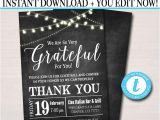Thank You Party Invitation Template Editable Appreciation Invitation Grateful for You Teacher