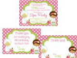 Thank You Party Invitation Template Girls Spa Party Invitation and Thank You Notes