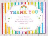 Thank You Party Invitation Template Items Similar to Rainbow Thank You Card Rainbow