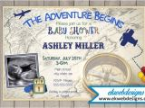 The Adventure Begins Baby Shower Invitations the Adventure Begins Baby Shower Invitation with sonogram
