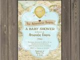 The Adventure Begins Baby Shower Invitations World Adventure Baby Shower Invitation Hot Air Balloon