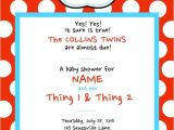 Thing 1 and Thing 2 Baby Shower Invitation Template Dr Seuss Thing 1 & Thing 2 Baby Shower Invitations by