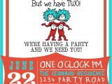 Thing One Thing Two Birthday Invitations Dr Suess Thing 1 Thing 2 Birthday Invitation by