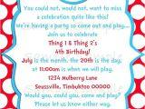 Thing One Thing Two Birthday Invitations Seuss Thing 1 Thing 2 Birthday Party Invitation Printable