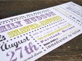 Ticket Stub Wedding Invitations Concert Ticket Wedding Invitation Sample Set by